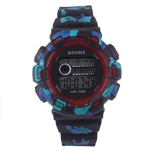 Relojes Digitales para niños, Relojes multifuncionales electrónicos Impermeables de la joyería del Reloj Digital de los Deportes Rojo: Amazon.es: Relojes