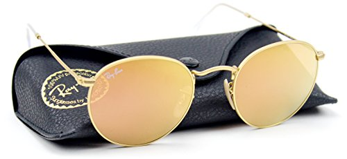 Ray-Ban RB3447 112/Z2 50mm Unisex Retro Vintage Gold / Brown Mirror Pink Lens Sunglasses