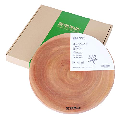 MAHOGANY Large Thick Round Wood Cutting Board 12.6x12.6x1.1