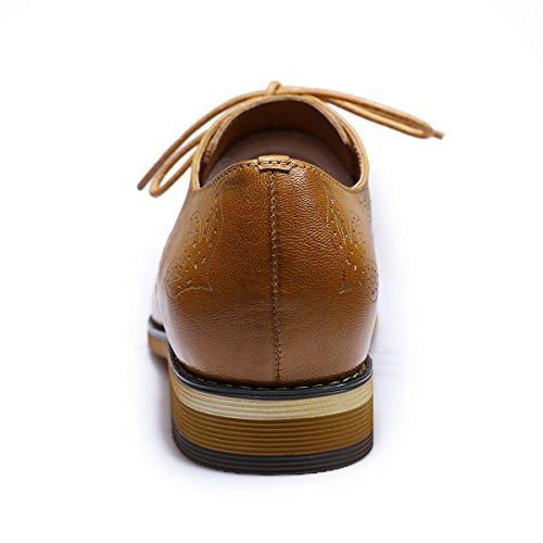 Mona Donne Volanti In Pelle Oxfords Lacci Perforate Scarpe Per Le Donne Multicolori Scarpe Marroni Brougue 2 Estremità Alare