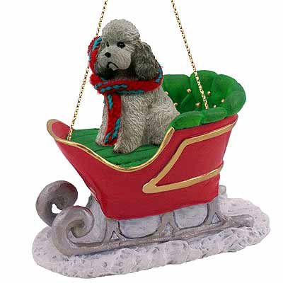 Poodle Sleigh Ride Christmas Ornament Gray Sport Cut - DELIGHTFUL!