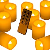 Beichi Set of 6 Remote Control Votive Candles Battery Operated, Flameless Flickering Tealight Candles, LED Timer Tea Lights in Amber Yellow Flame, Unscented Outdoor Electric Candles, D1.5''x2''H