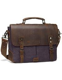 Messenger bag for men,Vaschy Vintage Leather Canvas Satchel 14in Laptop Crossbody Shoulder Bag