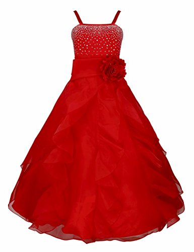 FEESHOW Kids Big Girls Rhinestone Ruffle Flower Dress Bridesmaid Party Wedding Gown Red 14