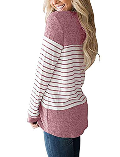 Tunique Jumpers Col Fashion Longues Pulls Patchwork Raye T Femmes Tops Shirts Hauts Printemps Pullover Blouse et Shirts Rond Casual Sweat Automne Manches JackenLOVE Rose 8wvCfO