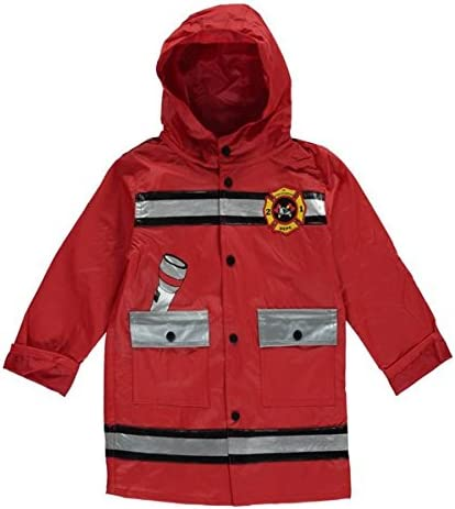 Wippette Fireman red Multi 7 Jr Fire Squad Print Hood rain Coat Jacket