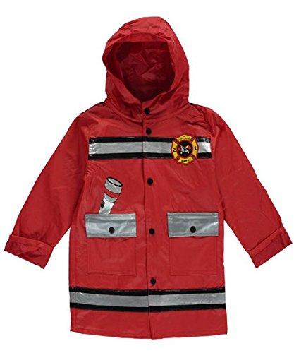 Fire Squad Print Hood rain Coat Jacket Wippette Fireman red Multi 7 Jr