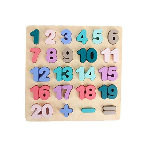 MOGOI Wooden Alphabet Puzzle Board, Upper/Lower Case Letter and Number Learning Board Early Educational Toy for Kindergarten Toddlers & Preschools Boys Girls -