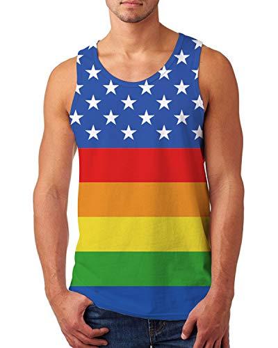 (Uideazone Sleeveless Tank Top for Men Rainbow Striped Tee Shirt Summer Beach Tees)