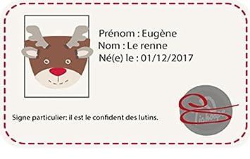 Tichoups Chaussons cuir souple fourr/és Eug/ène le renne 16//17