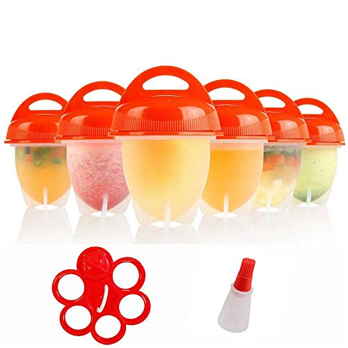 Silicone Egg Cooker-Hard Boiled Egg Maker with Egg Holder,Boiled Eggs Without the Egg Shell AS SEEN ON TV,Instruction Book Included(Pack of 6)