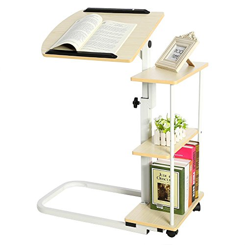 AYNEFY Tiltable Overbed Table Angle and Height Adjustable Rolling Table Desk Tray Side Table for Bed or Sofa Overbed Table with Wheels and Storage Shelfs