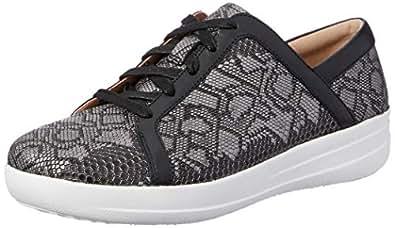 FITFLOP Women's Casual Exotic F-Sporty II Sneaker, Black, 5 US