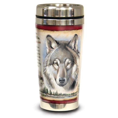UPC 659356009702, American Expedition Wildlife Steel Travel Mug - Gray Wolf