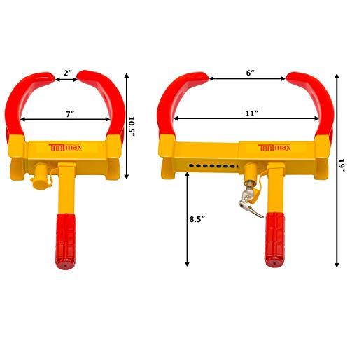 Goplus Heavy Duty Trailer Lock Wheel Clamp, Adjustable Anti-theft Tire Lock 5.3-lb Boot for Car Truck RV Boat Trailer Automotive Golf Carts w/Three Keys by Goplus (Image #3)