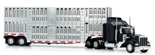 - New Ray 1/43 D/C Kenworth W900 Pot Belly Livestock Trailer
