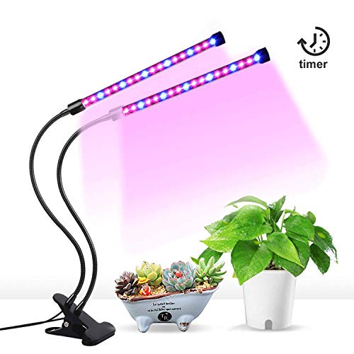 [2018 Upgraded] 18W Dual Head Timing Grow Lamp, 36LED 5 Dimmable Levels Grow Lights Bulbs for Indoor Plants with Adjustable 360 Degree Gooseneck, 3/6/12H Timer, 3 Switch Modes