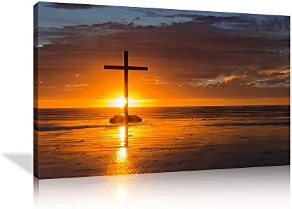 KALAWA Religious Jesus Christ Spiritual Canvas Prints Wall Art Christian Cross Standing on A Rock
