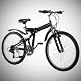 "New 26"" Folding Mountain Bike Foldable Bicycle 6 SP Speed Shimano, Black Color"