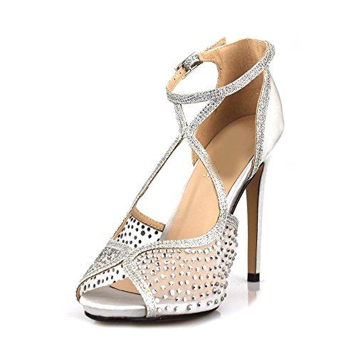 Silver femme Miss Peep Diva Toe Satin qxw7YHw
