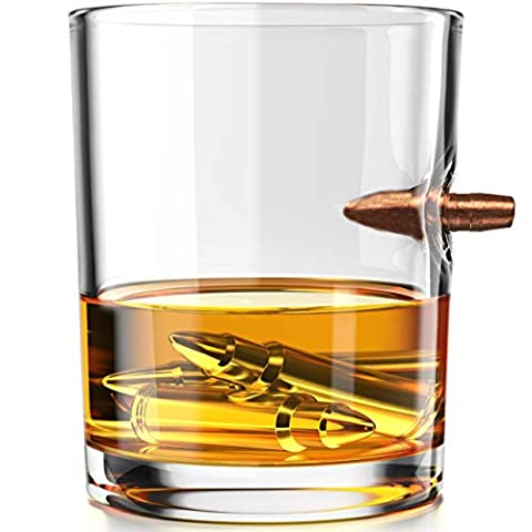 .308 Real Solid Copper Projectile Hand Blown Old Fashioned Whiskey Rocks Glass 10 oz