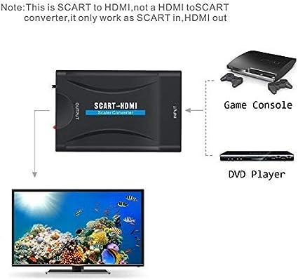 Euroconector a HDMI, GANA Scart a HDMI Convertidor 1080P Scart to HDMI Adaptador 60Hz HD para HDTV STB Xbox PS3 Sky DVD BLU-Ray: Amazon.es: Electrónica