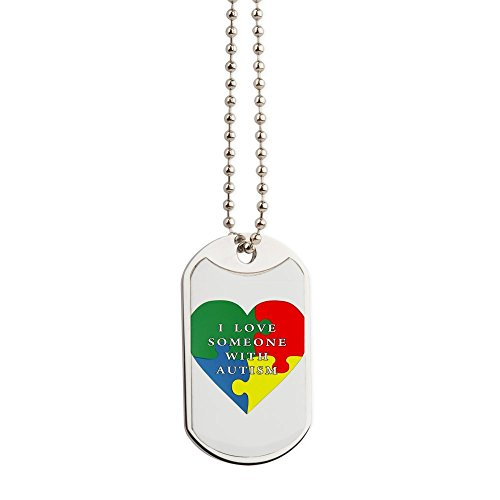 CafePress - Autism Love - Military Style Dog Tag, Stainless Steel with Chain ()