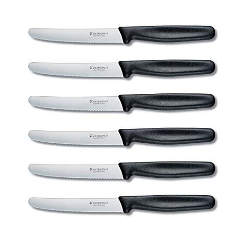 Victorinox Swiss Army Cutlery Serrated Steak Knife Set, Round-tip, 4.25-Inch, 6-Piece