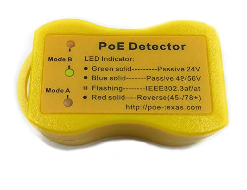 PoE Detector for IEEE 802.3 or Passive PoE - Quickly identify Power over Ethernet; Display Indicates Passive or 802.3af/at; 24v, 48v, or 56v; and Mode B Reverse Polarity