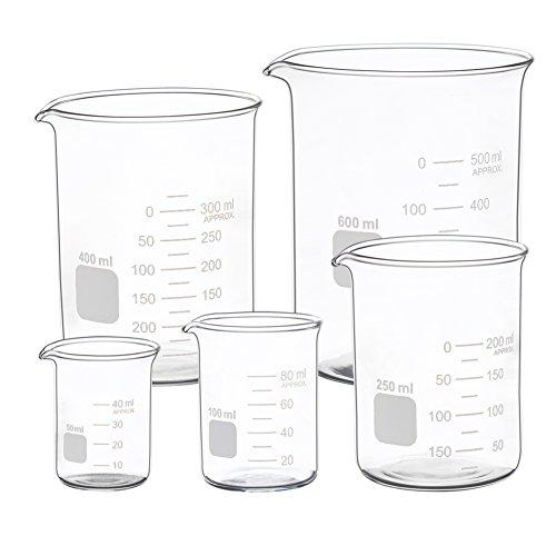 Graduated Glass Measuring Low Form Beaker Set 50ml 100ml 250ml 400ml 600 ml ()