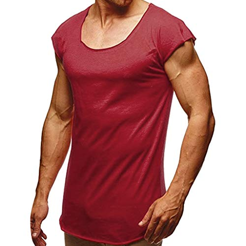 Mens Gym Loose Quick-Dry Fitness Vest, MmNote Muscle Fitness Technology Lightweight Microfiber Bodybuilding Stringer Tank Wine -
