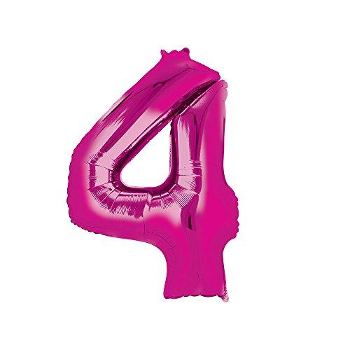 Regina 108056.3, Balão Metalizado Super Shape Número 4 Pack, Rosa