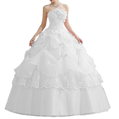 Favors Women's Quinceanera Dress Ball Gown Long Tulle Strapless Prom Gown White 12