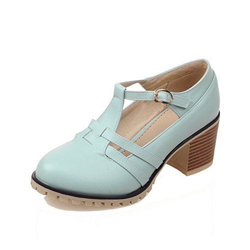 Odomolor Women's Kitten-Heels PU Solid Buckle Round-Toe Pumps-Shoes, Blue, 33
