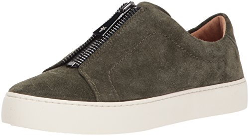 FRYE Women's Lena Zip Low Fashion Sneaker, Forest Soft Oiled Suede, 8 M US