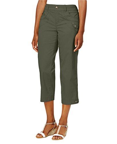 Classic Tab-Pocket Capri Pants (Olive Spring, (Tab Pocket Capri)