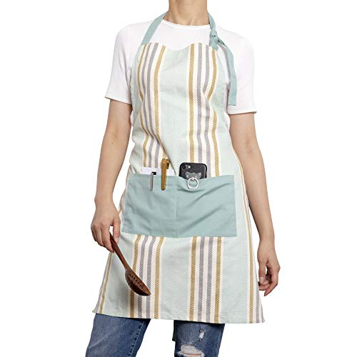 NEOVIVA 100% Cotton Waitress Aprons with Pocket and Adjustable Neck Strap, Vintage Bib Cooking Aprons for Women Men, Striped Clearwater Blue