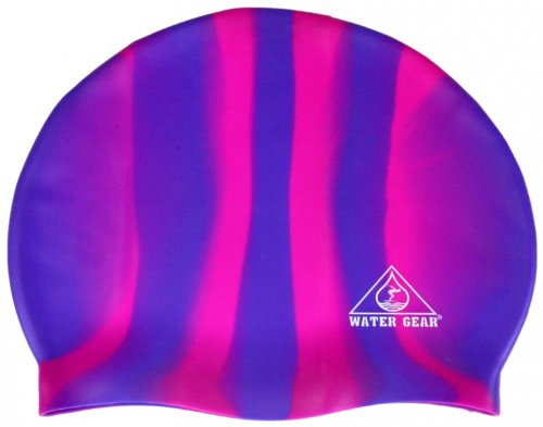 (Water Gear Jazz Silicone Swim Cap Blue/Pink Candy Stripe)