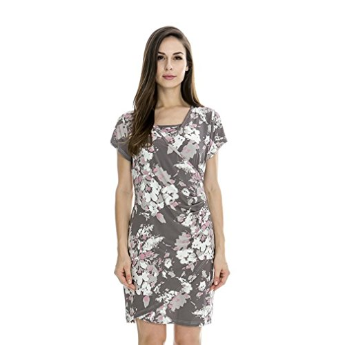 Nat Terry Women Floral Maternity Dresses, Fashion Grey Summer Nursing Breastfeeding Dress by Nat Terry
