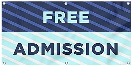 Stripes Blue Wind-Resistant Outdoor Mesh Vinyl Banner 8x4 Free Admission CGSignLab