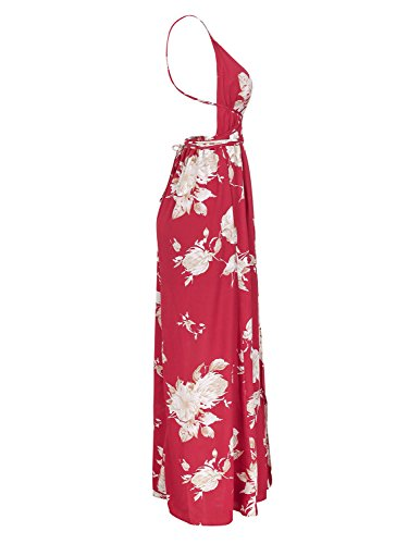 Backless Floral Beach Sexy BerryGo Red Boho Maxi Dress Split 1 Dress Women's qRE77pwB