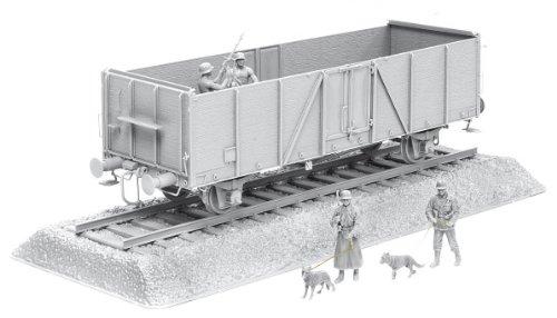 1/35 German Railway Gondola Typ Ommr with Bonus Gun Crew and Mg Gun Plus Accessory, German Feldgendarmerie w/Dogs Figure Set and Length Of Rail Track