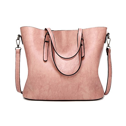 PU Feminina Women 35cm Pink Oil Bag Wax Famous Bags Large Bag Tote Brown Ladies Handbag Bolsas Shoulder Big Capacity Leather Women HTn5qXxg