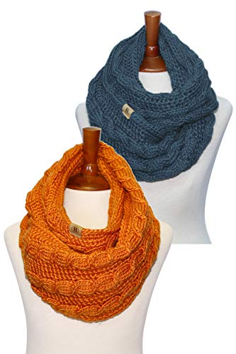 (Basico Women Winter Chunky Wide Knitted Infinity Scarf Warm Circle Loop Various Colors)