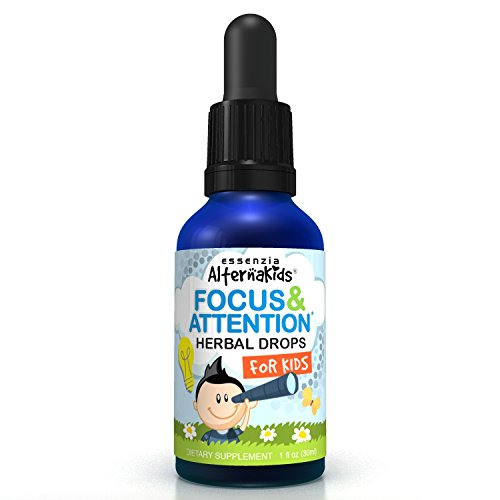 Focus and Attention Supplement by Alternakids - Safe Herbal Formula for Improving Concentration & Memory for Kids - Nootropic Liquid Drops - Aid with Overall Memory and Behavior