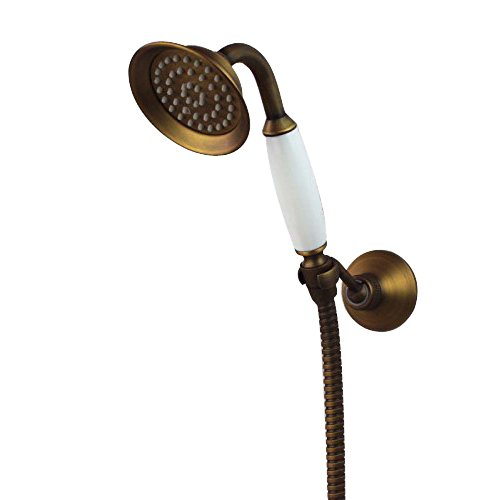 Traditional Style Antique Brass Finish and Porcelain Hand Shower Sparyer with 1.5m Hose and Wall Mount Handbath Holder