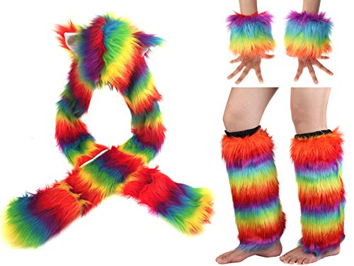 Adult Rainbow Costume Sets Wave Wig Long Gloves Stockings Tail Tutu Skirt Feather Headband (R) ()