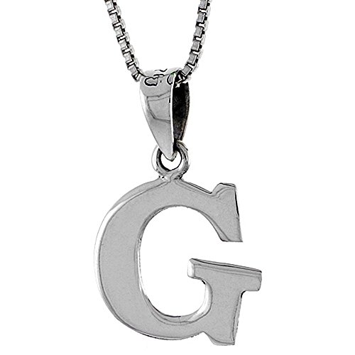 Sterling Silver Block (Sterling Silver Block Initial Letter G Alphabet Pendant Small Highly Polished, 1/2 inch high)