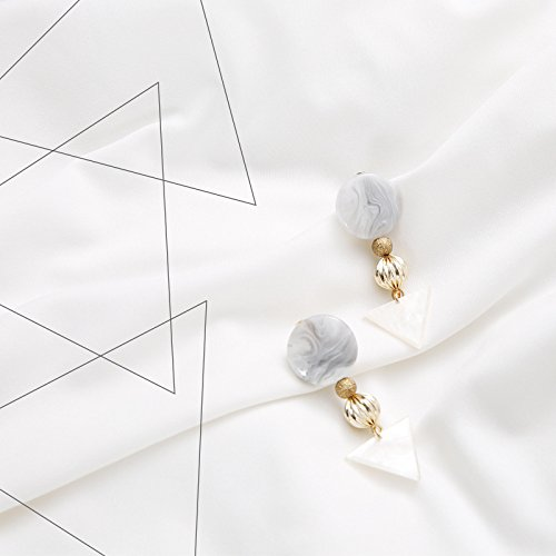 usongs Minimalist geometric earrings ear Japan acetic acid white marble triangle vintage earrings resin earrings ()