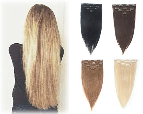 Long Straight Remy Human Hair Clip in on 4 Pieces 13''-19'' Full Head Hair Extensions 10 Clips Hairpieces by Sexy_Forever (Image #8)